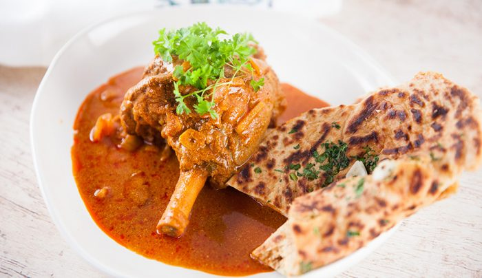 Lamb Shank Rogan Josh with Garlic Roti