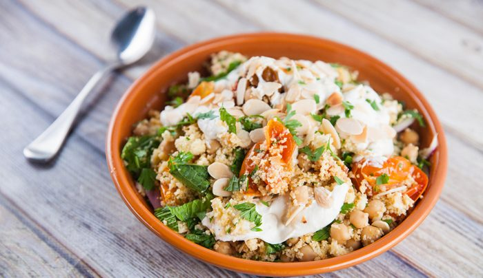 Harissa Roasted Tomatoes with Couscous & Garlic Yoghurt Sauce
