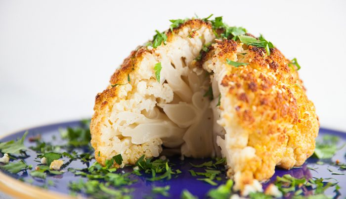 Whole Roasted Cauliflower with Spicy Cashew Dukkah