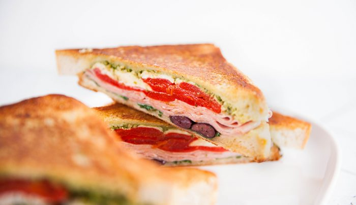 Mortadella, Red Pepper, Bocconcini, & Olive Panini