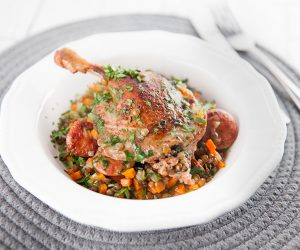 Confit Duck with Chorizo, Speck and Lentils