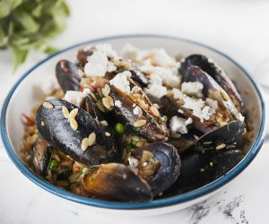 One Pot Celebration Mussels with Risoni